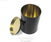 Black printing round tea box tin box by Tinmen