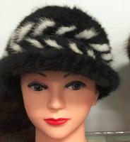 Fashionable Women's Winter Real Mink Fur Knitted Hat Benn Hat
