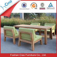 Colorful teak wood dining table wicker garden furniture