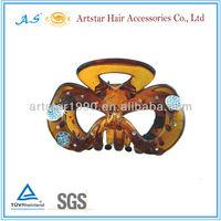 Plastic bow tie rhinestone hair jaw clips/ metal accessories