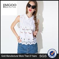 MGOO Brand Design Crochet Tops For Women White Cotton Sleeveless Muslim Fashionable Tops 15120B680