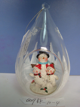 Engrabed custom ornament to make your own crystal ball with snowman