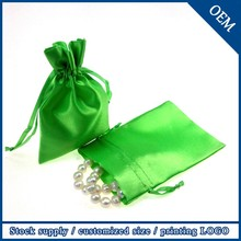 Fashion Small Jewelry Customized Logo Drawstring Satin Bags Wholesale