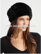 Yr-698 las señoras caliente real de piel de conejo del sombrero de punto/de invierno sombreros de piel