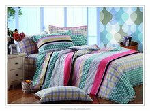 100% cotton lattice&stripes printed duvet cover set for school
