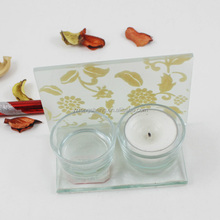 lovely glass candle holders with leaf designs