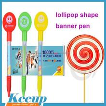 Lollipop shape sweet color plastic banner ball pen for company advertising