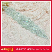 Bridal Accessories Rhinestone Applique Beaded Applique Wedding Dress Sash hand embroidery designs for dress 2012