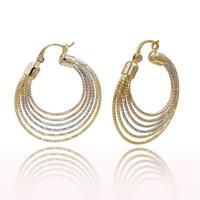China Joyas Al Por Mayor , Fashion Jewelry 2015 Imitation Jewelry , Tri Tone Women Hoop Earrings