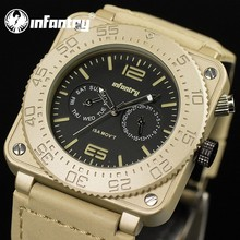 INFANTRY Mens Golden Military Army Sport Analog Day Date Display Quartz Wrist Watch