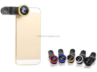 3 in 1 Mobile Phone Lenses Kit Metal Clip Fisheye Lens Universal Wide Angle Micro Lens for iPhone Samsung Mobile Smart