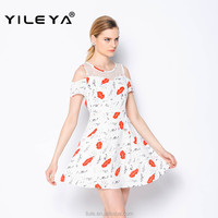 latest short sleeve summer lovely kiss pattern printed woman casual dress designs