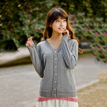 Autumn / Spring Lady Bamboo /Cotton Grey Long Sleeve Cardigan Buckles Crew Neck Latest Design Sweater
