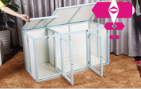 Hot selling folding wooden puppy pet dog cage with powder coated thick steel wire