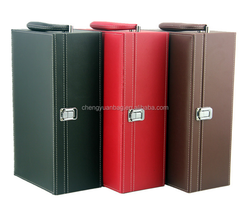high quality luxury Champagne bag leather wine carrier wine leather box