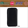 Black wallet leather cover for iphone 5 with strap