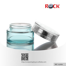 High quality empty cosmetic jars blue glass with screw caps