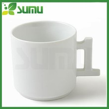 White blank ceramic mug with special handle