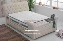 classic Used bedroom furniture , Tufted Leather king size bed, modern leather bed