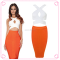 Venda quente Ebay vestidos de laranja e branco vestidos de casamento