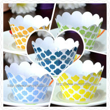 hot sale! cupcake packaging party cupcake wrappers printed laser cut wedding decoration cake decorating wholesale