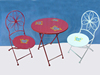 Wrought Iron Garden Table and Chair with Butterfly Decoration