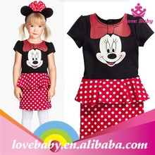 Brand New Baby Casual Girls Cartoon Mouse Pattern Dots Dress High Quality Short Sleeve Cotton Tutu Dresses For Girl LBS50601302