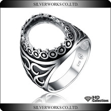Top Sale antique style ring mounting 925 sterling silver adjustable finger ring base thai silver rings finding