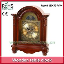 Woodpecker antique brass table clock silent alarm clock wood carving clock