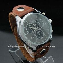 Hot sale Unisex Quartz Fashion mens hand watch brand Watch Adjustable Genuine Brown Leather Strap watch WL-044
