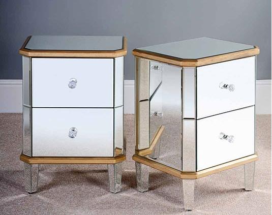 ZhaoHui 우수 디자인 실버 유리 미러 침대 사이드 테이블 3 서랍 ...