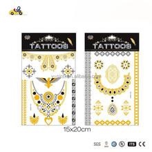 sex fashion Golden Silver Metallic Temporary Tattoos Sticker fluoresc Waterproof