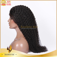 Natural Color Full Hand Tied Remy Human Hair 100% Unprocessed Virgin Malaysian Hair Kinky Curly Full Lace Wigs