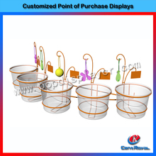 New products for 2015 supermarket metal fruit and vegetable hanging basket stand