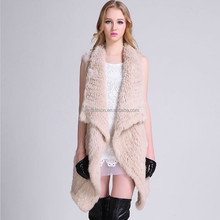 Hot Style Ladies Genuine Knitted Rabbit Fur Vest for Fashionable Women with Cheap Price