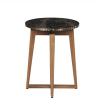 Elegant Black Marble Top Modern Wood Side Table