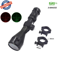 3-9x42CE R&G Illumination Mil-dot Reticle Red/Green Dot Scope Tactical Reflex Picatinny Rail for Airsoft Hunting Riflescopes