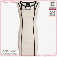 Hot sale round neck sleeveless innovative design patch work women's fashion dresses