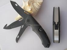 2015 new design kodiak FDT ergonomical composite handle 3 blade folding hunting pocket knife with safety back lock