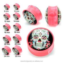 Cute skull head UV acrylic ear plug tunnels body piercing jewelry