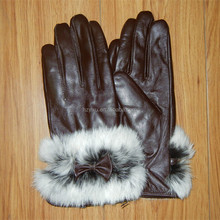 goat leather with rabbit fur lady leather working gloves