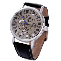 SK002 High quality Leather strap Big Dial Skeleton Mechanical Watch