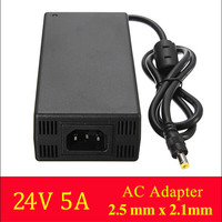 1PCS High quality Black 24V 5A 120W AC/DC Power Supply Adapter for 2.1x2.5mm LED Strip Security Camera TV Sound Box LED Strip