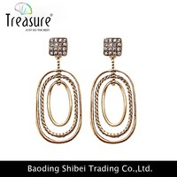 Simple design personalized trendy style earrings for women Treasure 2015 square tricyclic drop jewelry ER04420