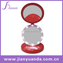 Foldable makeup mirror with led lights / 5x magnification LED cosmetic mirror / Plasti round led lighted vanity mirror