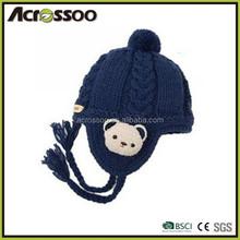 child winter ski earflap warmer knit beanie hat /earflap knitting beanie hat