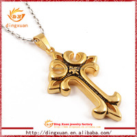 2015 latest China Wholesale Large gothic cheap Gold Cross Pendant