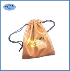 Custom made jewelry leather bag with gold stamping logo