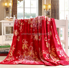 European Style Fashion Polyester Bed Cover Blanket Red with Nice Printing
