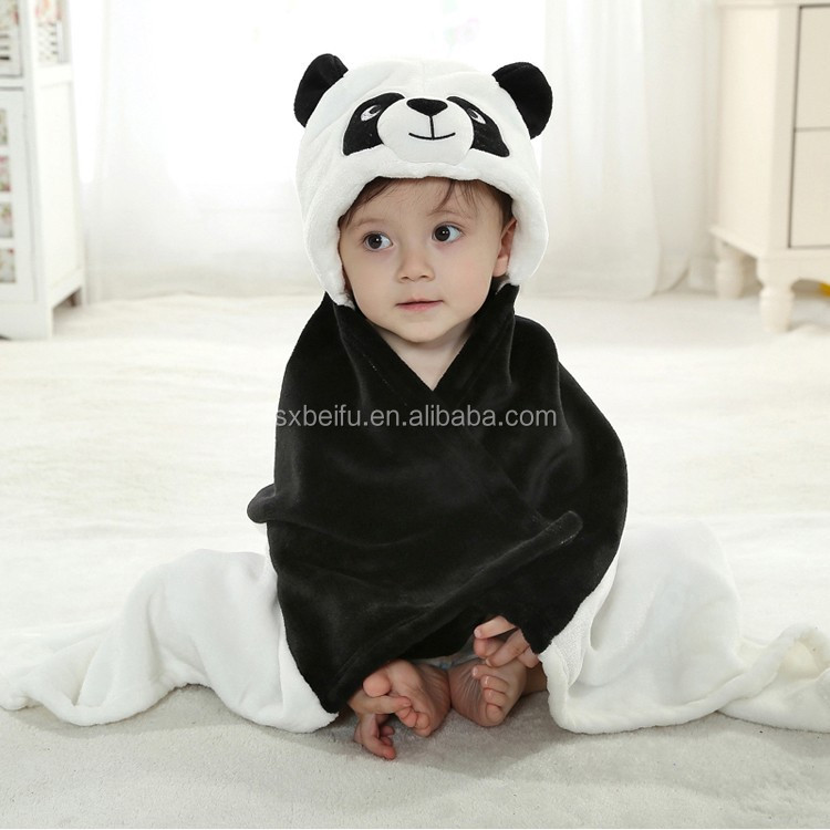 cartoon animal panda shaped head coral fleece embroidery water absorbed and warm kids hooded blankets